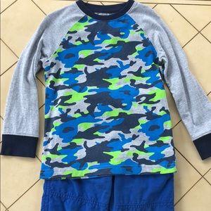Gymboree Blue Green Gray Camo Shirt Size 4T